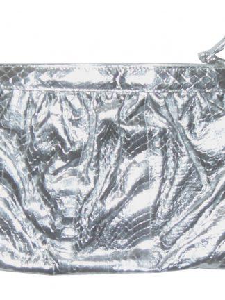 Saks of Fifth Avenue silver snakeskin shoulder clutch bag