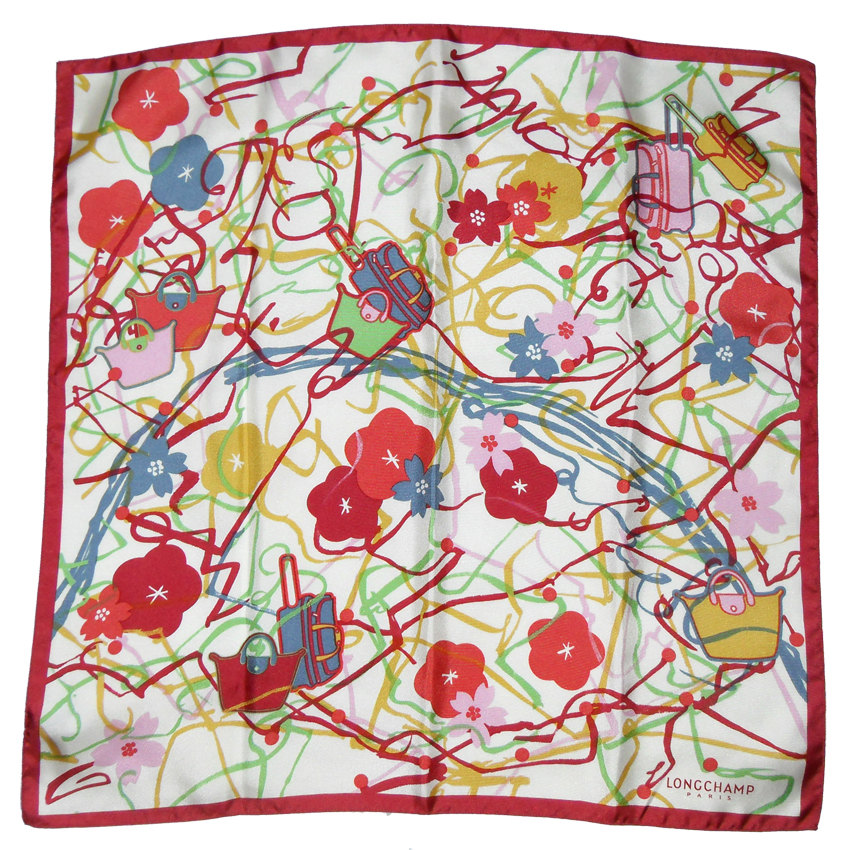 Longchamp silk scarf with a design of handbags and flowers