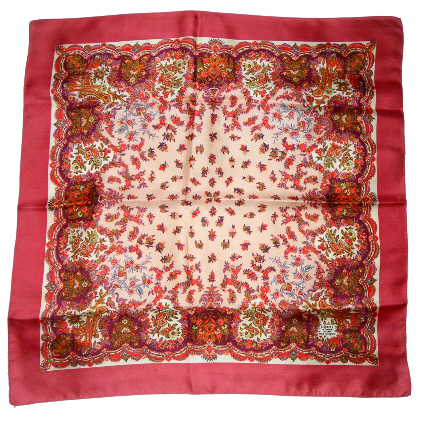 Rose pink border Liberty silk scarf
