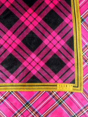 Pink plaid design silk scarf