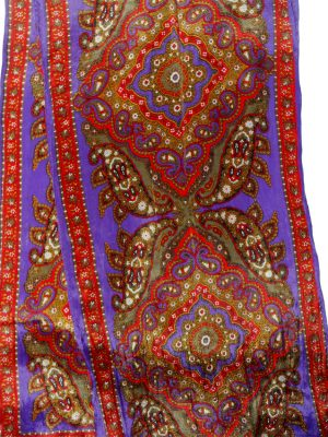 Long silk scarf purple, red, green design