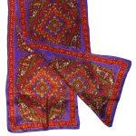Long silk scarf purple, red, green design