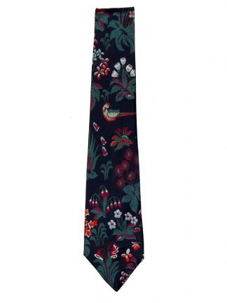 Beckford Silk Tie with a floral and bird design