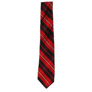 Red black and white tartan silk tie by Ronnie Hek