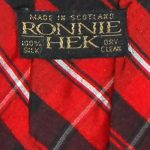 Red black and white tartan silk tie by Ronnie Hek