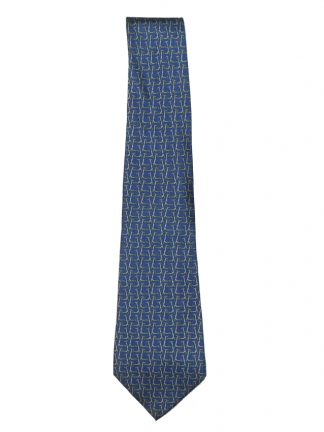 Silk tie with a blue background and a design of scooters by Salvatore Ferragamo