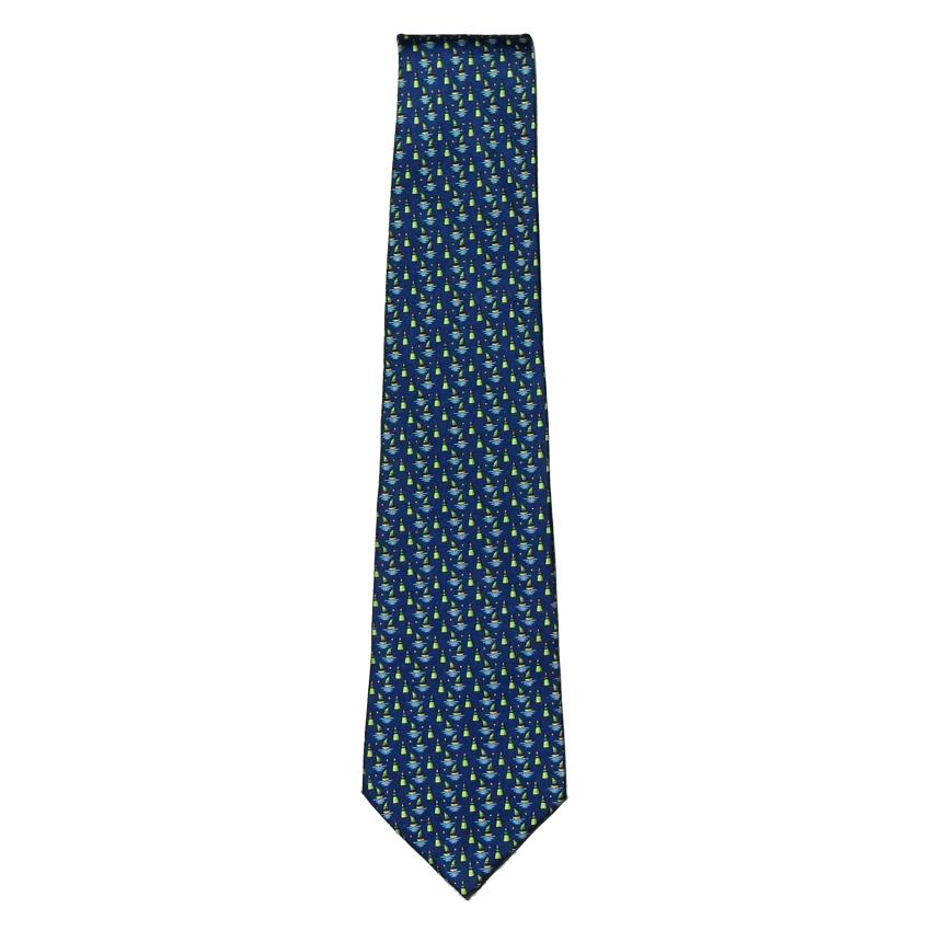 Boat and buoy designon a blue background silk tie