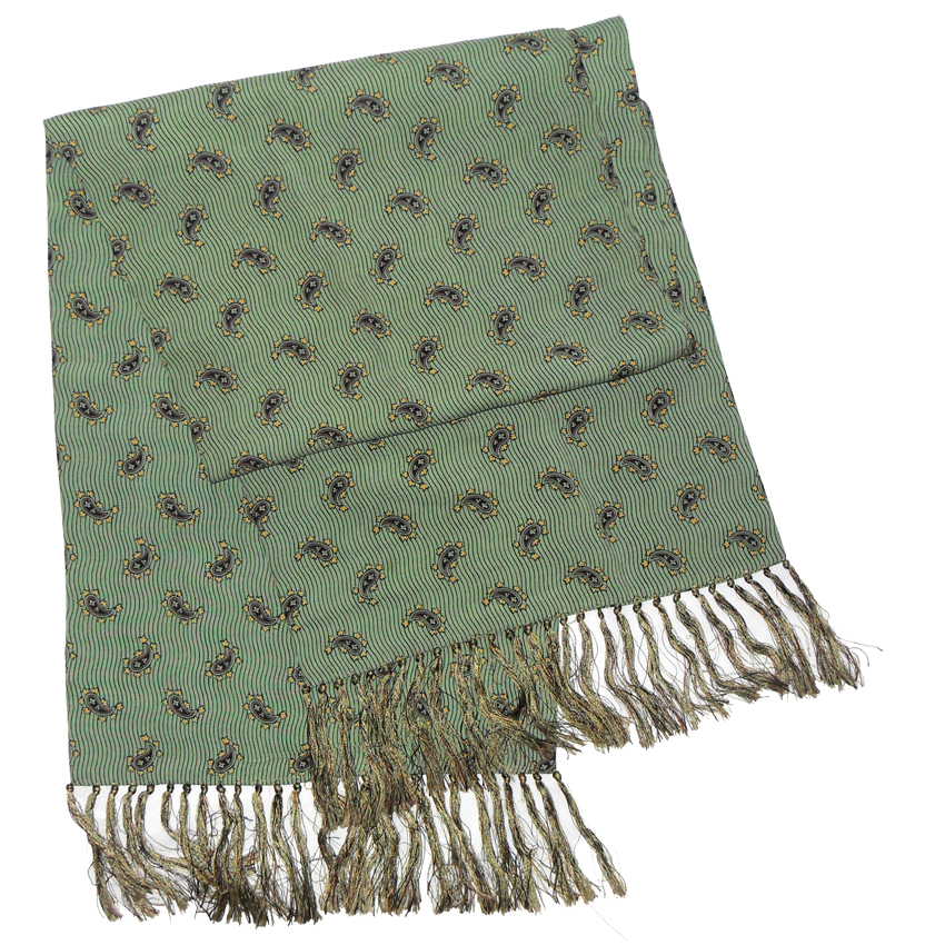 Green paisley design rayon scarf with hand tied tasseled ends