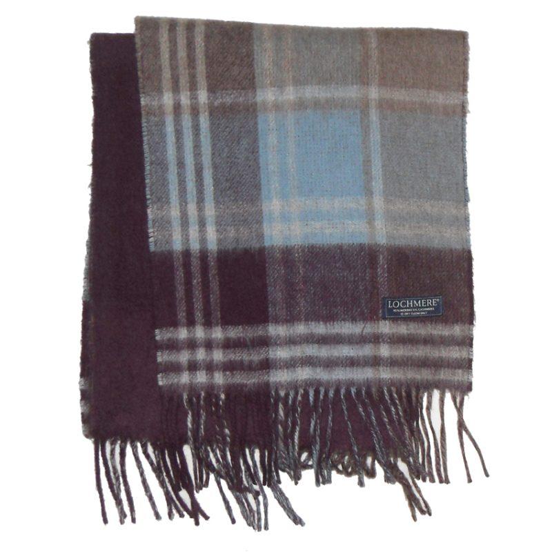 Lochmere Scotland merino cashmere blend plaid and plain design scarf