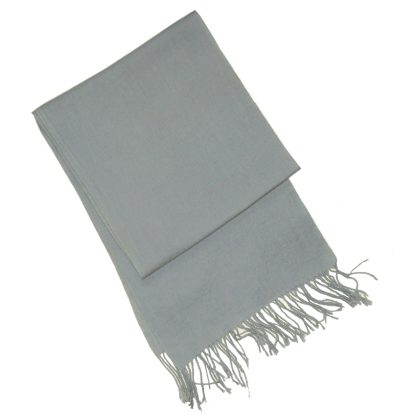 Grey merino wool scarf with fringed ends