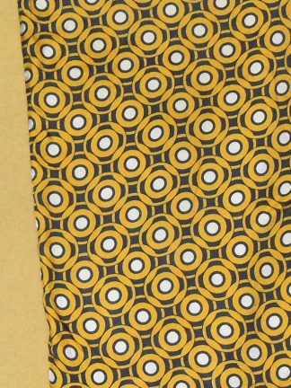 Silk circle design scarf with with yellow wool back