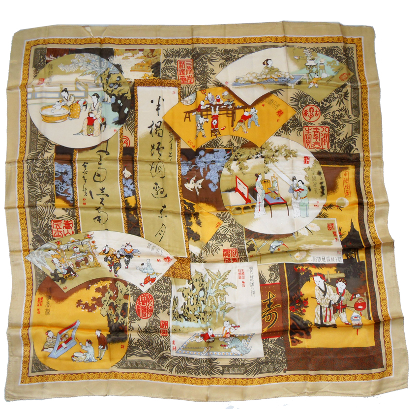 Pictorial scarf depicting various scenes