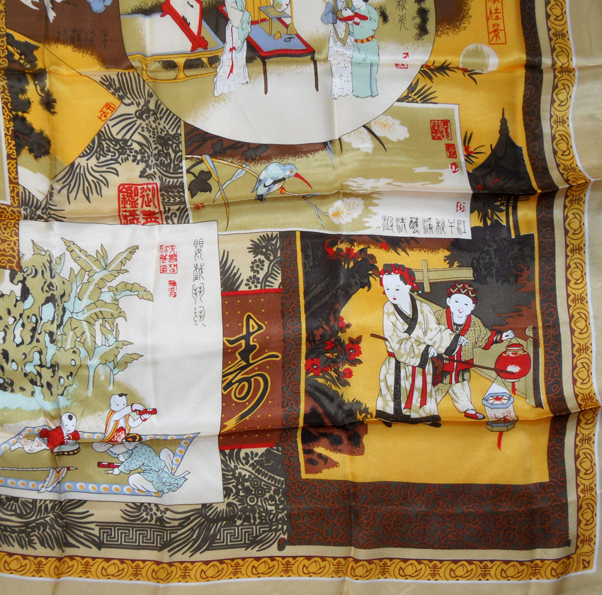 Pictorial silk scarf depicting various scenes