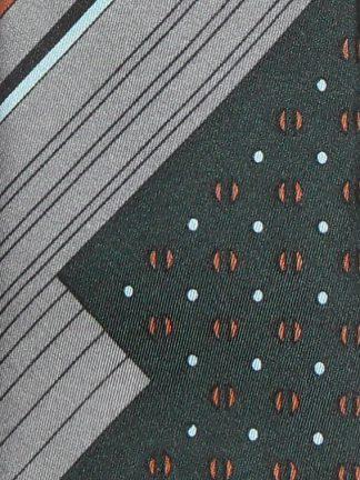 Vintage Pierre Cardin silk tie with dark green and silver grey design
