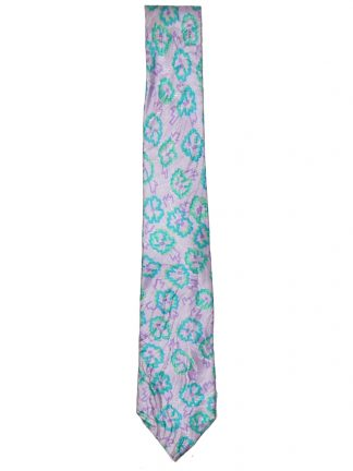 Narrow silk tie with a vibrant lilac and green design
