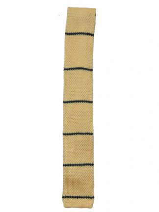 Square end yellow tie with black stripes