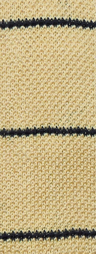 Square end knit tie with pale yellow background and narrow black stripe across