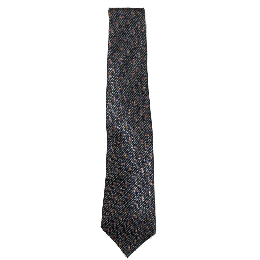Lanvin tie with a blue and copper design