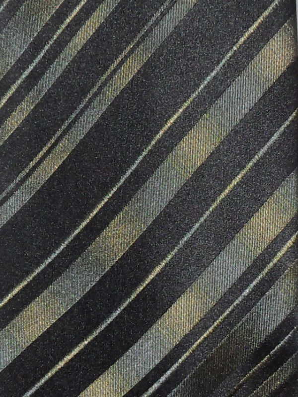Green and black diagonal stripe silk tie