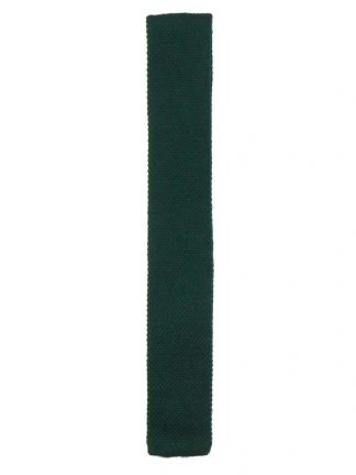 Pure new wool green knit square end tie