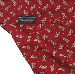 Tootal rayon cravat with a dark red background and a blue and cram design