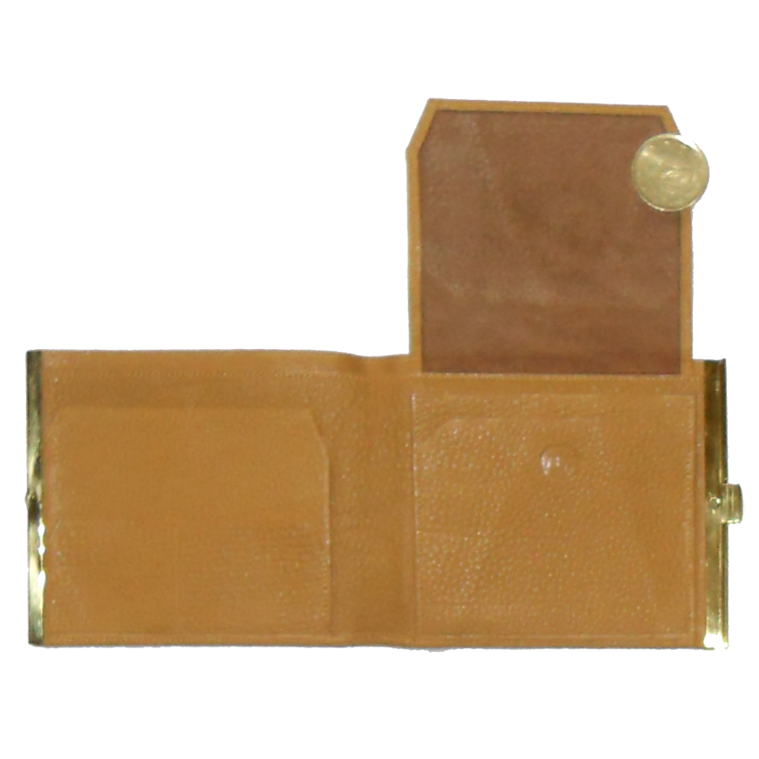 Light tan grained leather wallet with gold tone closure