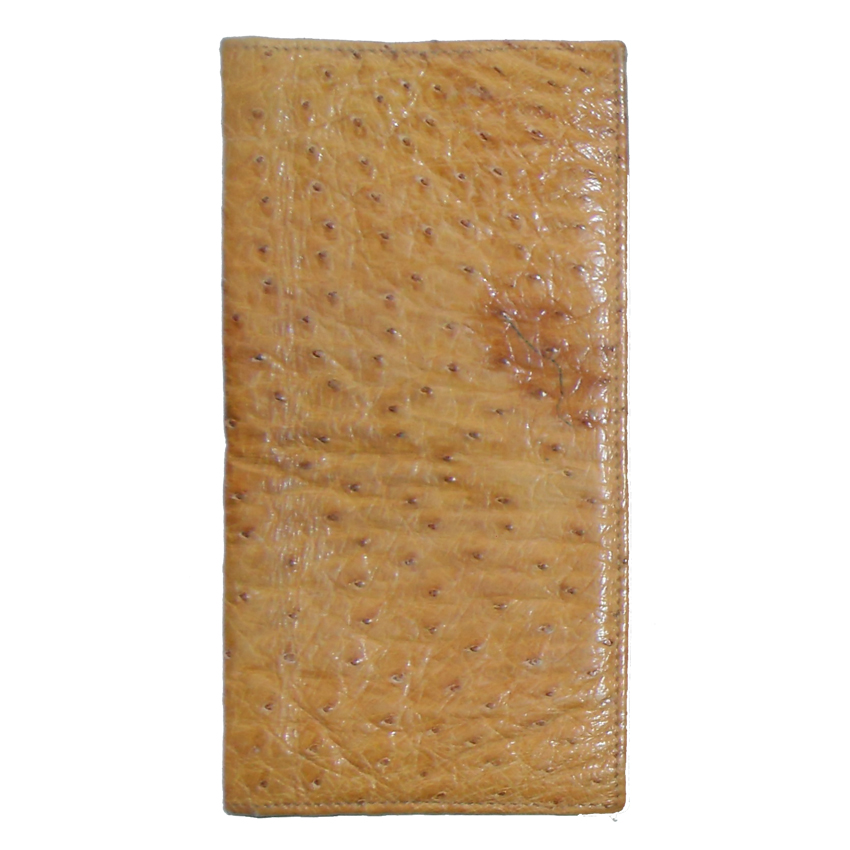 Ostrich leather wallet with pockets for notes and cards