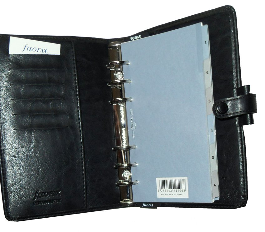 Black faux leather Filofax Kent