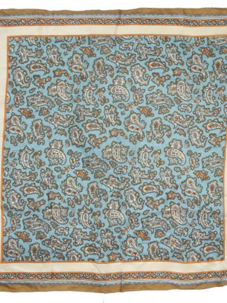 Blue, brown, orange and cream paisley design square