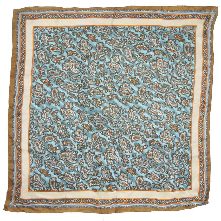 Blue, brown, orange and cream paisley design square