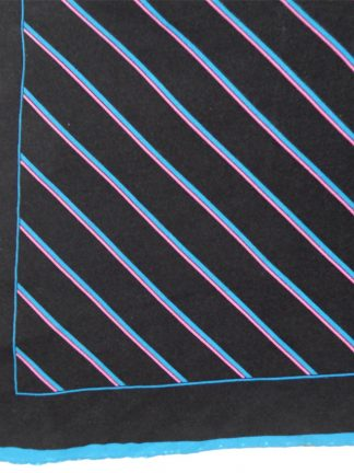 Vintage diagonal striped hand rolled edge silk pocket square