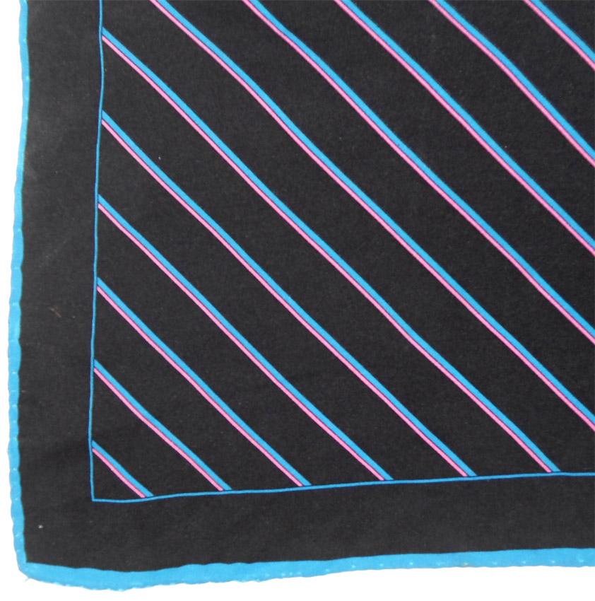 Vintage diagonal striped hand rolled edge silk pocket square