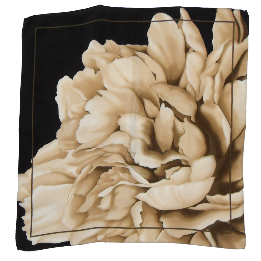 Silk square in shades of brown with a flower design