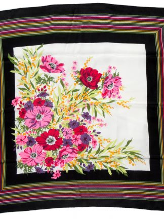 Italian vintage silk scarf with a bright flower design