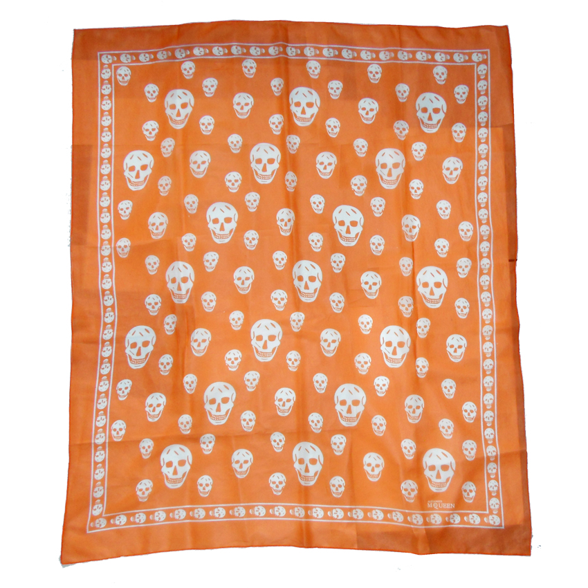 Alexander McQueen orange and white skull design scarf