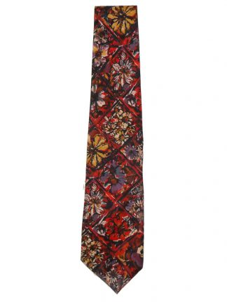 Vintage Liberty cotton tie with a floral design in reds, purples and yellows