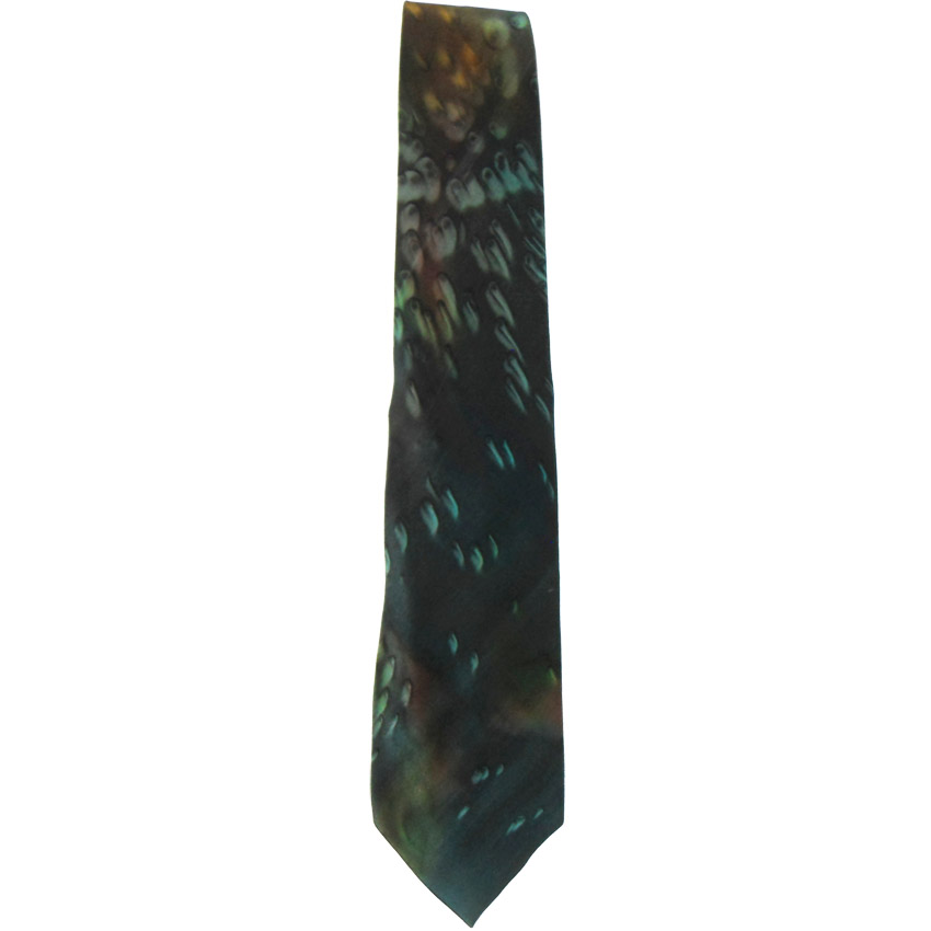 Vintage Moschino silk tie with a dark green background