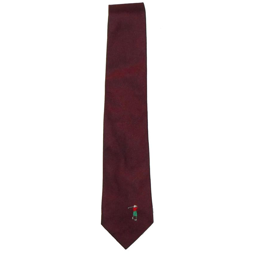 Vintage burgundy silk tie Herbie Frogg England