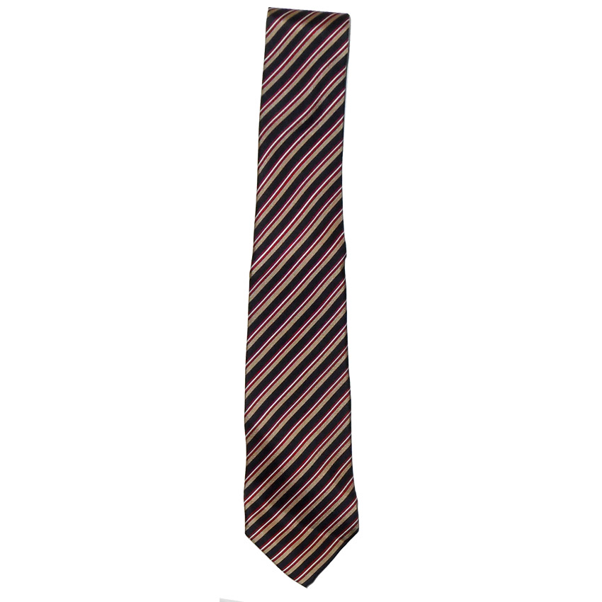 Vintage hand made diagonal stripe silk tie