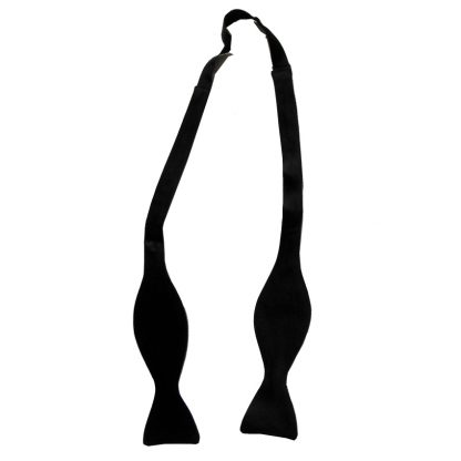 Black acetate self tie thistle end bow tie