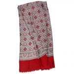 Red and grey design long scarf