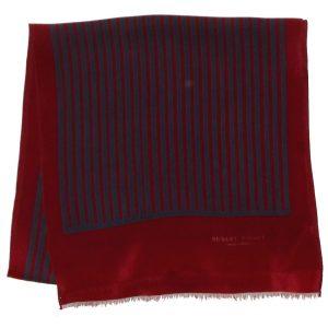 Dark red and blue striped long silk scarf by Robert Piguet