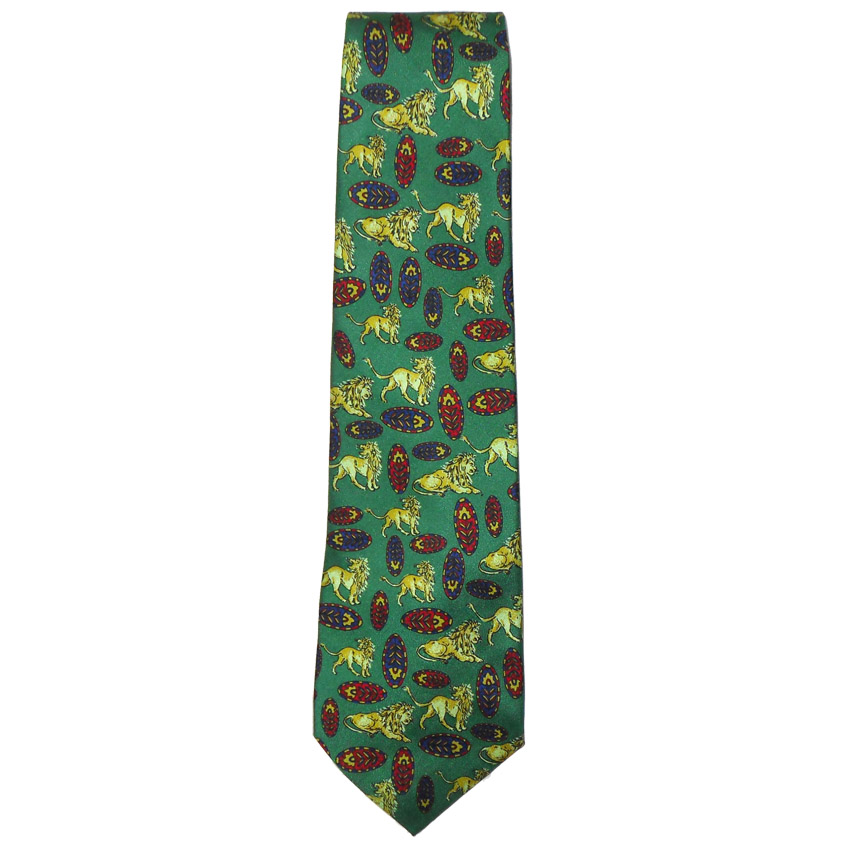Green silk tie with a design of lions and African shields