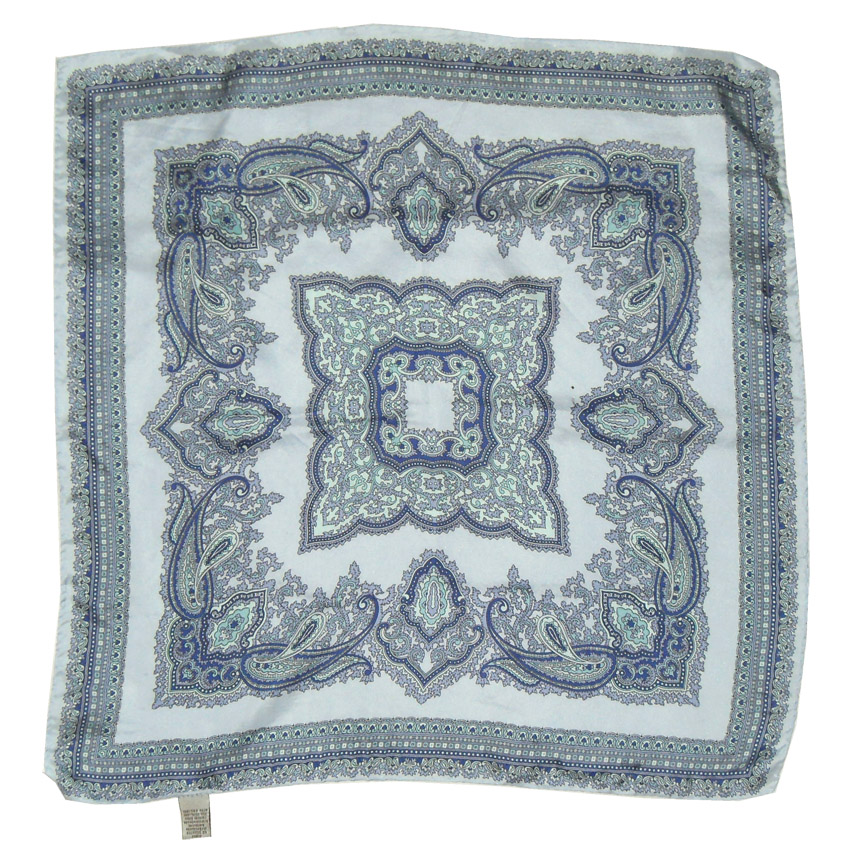 Handrolled edge silk square in shades of blue