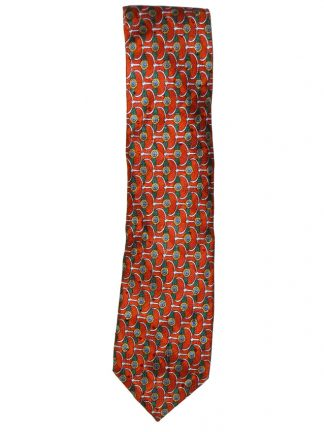 Textured silk tie with a design in orange, green, blue, yellow and white