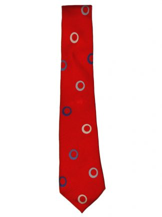 Red silk tie with coloured circle design by Turnbull & Asser