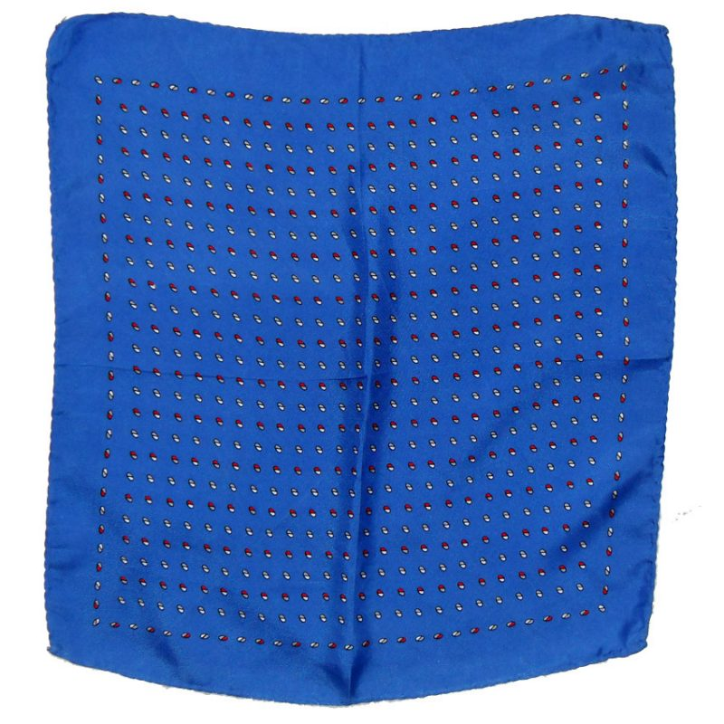 Small design blue silk pocket square