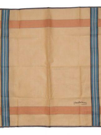 Pierre Balmain cotton pocket square with striped border light tan orange