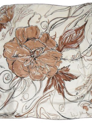 Richard Allan brown and cream flower design silk scarf