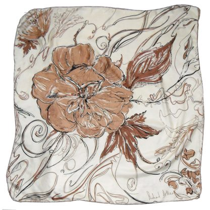 Richard Allan brown and cream flower design silk scarf